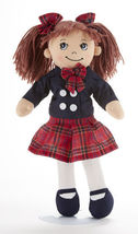 "Red Brown Hair Apple Dumplin Doll, School Girl Red Plaid/Navy Dress 14"",... - $24.45"