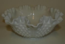 "Vintage Fenton ~ Milk Glass ~ Hobnail ~ Ruffled 8"" Bowl ~  U.S.A. Marked... - $44.95"