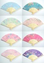 12 PCs Asian Flower Print Foldable Wood Hand Fan Flashing See Through Fa... - $13.45