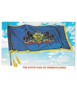State Flag Pennsylvania with Coat of Arms Motto Vintage Postcard  - $4.99