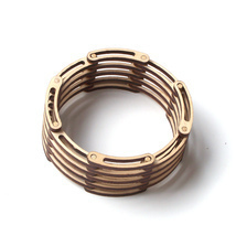Unique flexible, shrinkable laser cut wooden bracelet - Links - $49.00