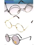 John Lennon Sunglasses Round Hippie Retro Gold Black Silver Frames Clear... - $9.49