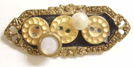 1950s vintage Victorian style pearl and button brooch pendant golden met... - $24.49