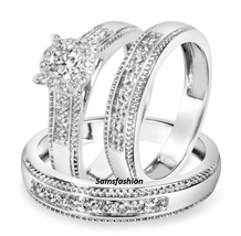 7/8 CT Simulated Diamond Trio Matching Wedding Ring Set 18K White Gold Finish - $290.96