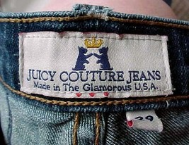 Juicy Couture Blue Jeans Distressed Holes & Patches Flare 29 x 33 Super ... - $18.69