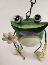 "Metal 15"" Dangling Green FROG Wind Chime Figurine Decoration - $8.51"