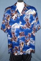 Hilo Hattie XL Button Down Hawaiian Shirt with Pocket Blue Sky Islands T... - $35.00