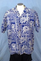 Ho Aloha XL Button Down Hawaiian Shirt With Pocket Blue Floral - $25.00