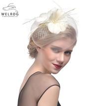 Feather Cap Lady Wedding Bridal Mesh Veil Hat - $8.98