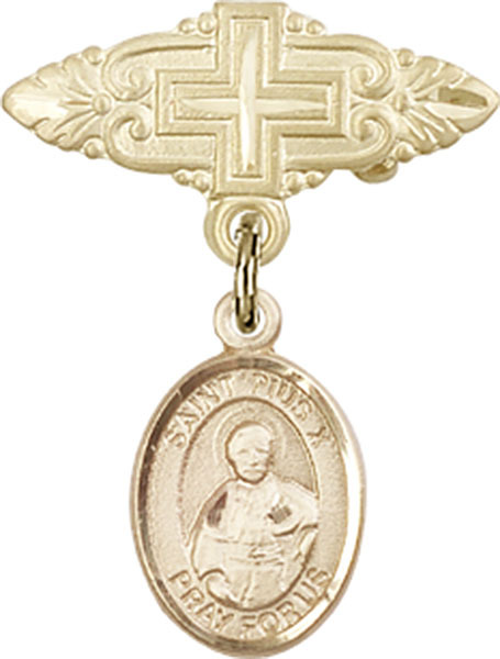 Primary image for 14K Gold Filled Baby Badge with St. Pius X Charm Pin with Cross 1 X 3/4 inch