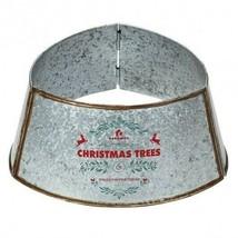 Galvanized Metal ChristmasTree Collar Skirt Ring Cover Decor-Silver - $92.61