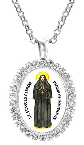 St Frances Cabrini Patron of Immigrants Cz Crystal Silver Necklace Pendant