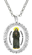 St Frances Cabrini Patron of Immigrants Cz Crystal Silver Necklace Pendant - $19.95