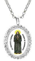 St Frances Cabrini Patron of Immigrants Cz Crystal Silver Necklace Pendant - $19.95