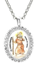St Christopher Patron of Travel Cz Crystal Silver Necklace Pendant - $19.95