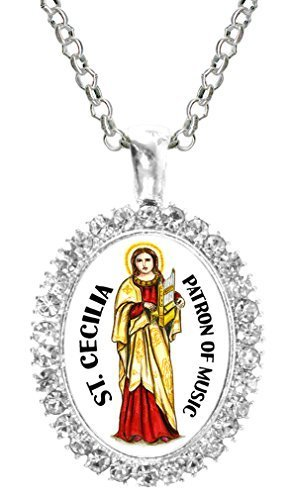 St Cecilia Patron of Musicians Cz Crystal Silver Necklace Pendant