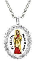St Cecilia Patron of Musicians Cz Crystal Silver Necklace Pendant - $19.95