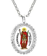 St Expeditus Patron of Urgent Requests Cz Crystal Silver Necklace Pendant - $19.95