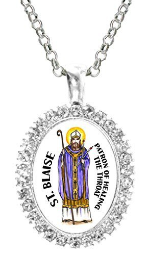 St Blaise Patron of Healing the Throat Cz Crystal Silver Necklace Pendant