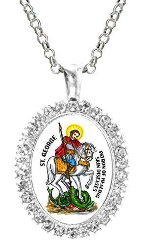 St George Patron of Healing the Stomach Cz Crystal Silver Necklace Pendant