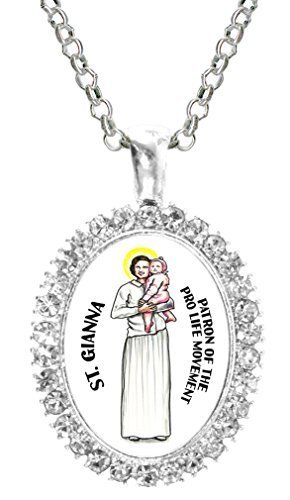 St Gianna Patron of Pro Life Movement Cz Crystal Silver Necklace Pendant