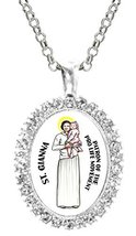 St Gianna Patron of Pro Life Movement Cz Crystal Silver Necklace Pendant - $19.95
