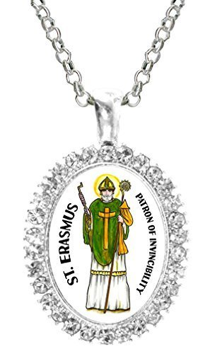St Erasmus Patron of Invincibility Cz Crystal Silver Necklace Pendant