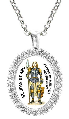 St Joan of Arc Patron of Soldiers Cz Crystal Silver Necklace Pendant