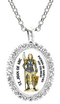 St Joan of Arc Patron of Soldiers Cz Crystal Silver Necklace Pendant - $19.95