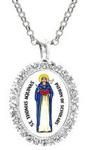 St Thomas Aquinas Patron of Scholars Cz Crystal Silver Necklace Pendant - $19.95