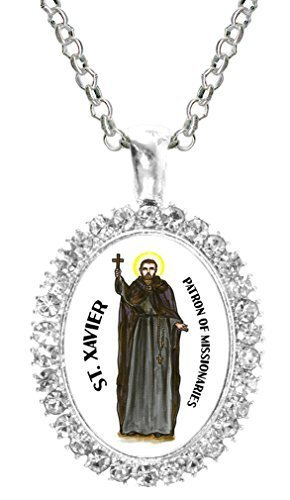 St Xavier Patron of Missionaries Cz Crystal Silver Necklace Pendant