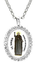 St Xavier Patron of Missionaries Cz Crystal Silver Necklace Pendant - $19.95
