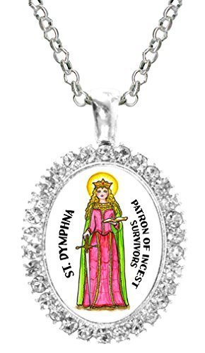 St Dymphna Patron of Incest Survivors Cz Crystal Silver Necklace Pendant