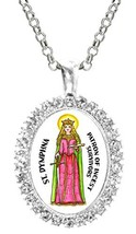 St Dymphna Patron of Incest Survivors Cz Crystal Silver Necklace Pendant - $19.95