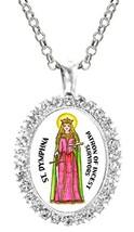 St Dymphna Patron of Incest Survivors Cz Crystal Silver Necklace Pendant - $19.95
