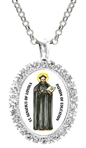 St Ignatius of Loyola Patron of Education Cz Crystal Silver Necklace Pendant