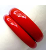 Pair Vintage Lucite Lipstick Red Bracelets Chunky Wide Stacking Pair  - $26.00