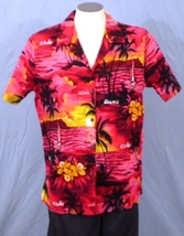 Royal Creations Hawaii XL Button Front Hawaiian Shirt Floral Palm Trees Sunset A - $25.00
