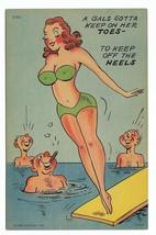 1952 Linen Curt Teich Comic Postcard- C-801 lady diving board beach - $9.99
