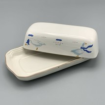 Vintage Countryside Blue Bow Goose Geese Butter Dish Geese Cottagecore F... - $37.04