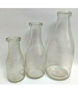 3 Peoria IL Roszell's Glass Dairy Milk Bottles Half Gallon Pint Quart Il... - $138.59