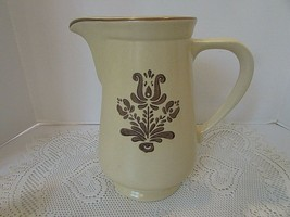 Pfaltzgraff Village Pattern Large Pitcher 2 Qt #216 Usa Beige & Brown - $18.76