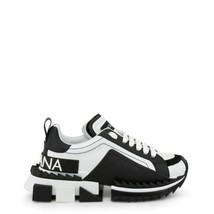 Dolce&Gabbana Super Queen Sneakers White Black Leather Low Top Lace Up T... - $636.64