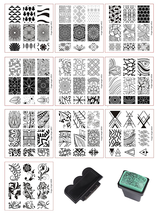 Biutee Nail Stamping Plates 10Pcs Kit with Clear Jelly Silicone Nail Art... - $11.10
