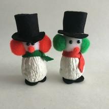 "Vintage Handmade Walnut Snowman Christmas Ornament 3.5"" New Old Stock  S... - $11.63"