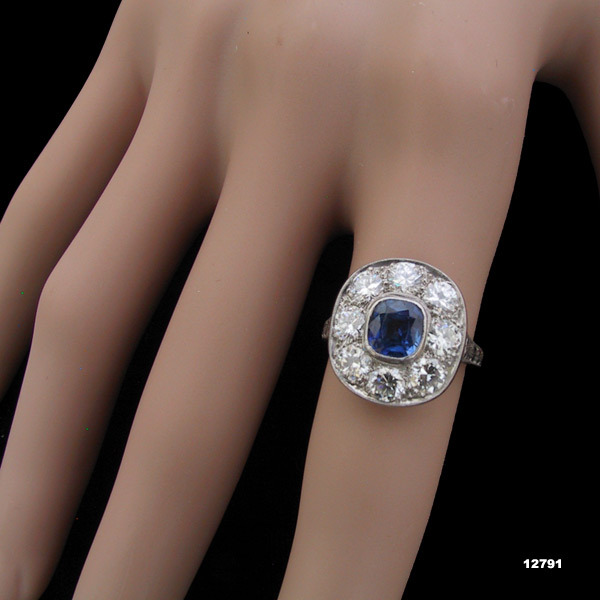 Primary image for Art Deco Platinum Diamond Engagement Ring Sapphire Edwardian Ring