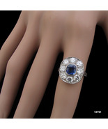 Art Deco Platinum Diamond Engagement Ring Sapphire Edwardian Ring - $5,750.00
