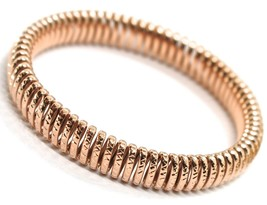SOLID 18K ROSE GOLD ELASTIC BRACELET BIG WAVE 11 MM, FINELY WORKED SEMI ... - $2,610.00