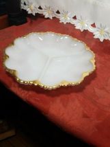 "VINTAGE Anchor Hocking Fire King Milk Glass GoldTrim Divided Serving Dish 9-1/2"" image 3"