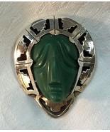 STERLING SILVER & JADE MAYAN AZTEC WARRIOR FACE... - $108.90